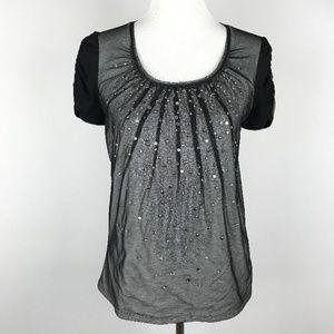 White House Black Market T Shirt Small Beaded Top